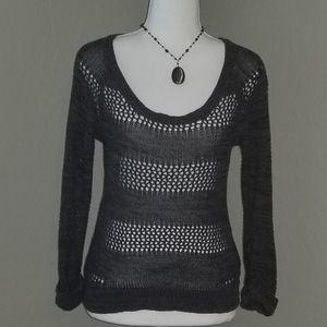 Roxy Womens Gray Cotton Crochet Sweater